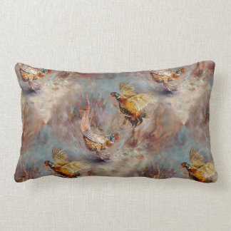 Two male ring-neck pheasants fighting. lumbar pillow