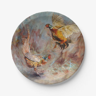 Two male ring-neck pheasants fighting. paper plate