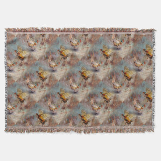 Two male ring-neck pheasants fighting. throw blanket