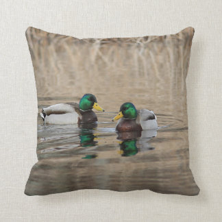 Two mallard drakes and reflections throw pillow