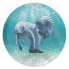 Two Manatees Swimming Plate