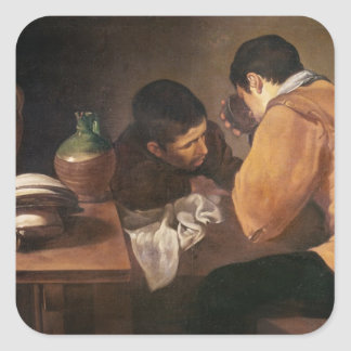 Two Men at Table, c.1620-21 Square Sticker