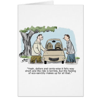 Two men discussing hybrid electric car card
