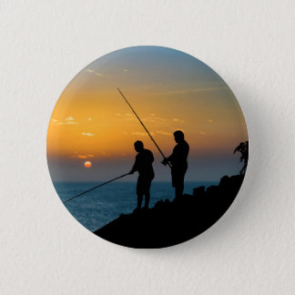 Two Men Fishing at Shore 2 Inch Round Button