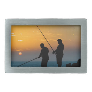 Two Men Fishing at Shore Belt Buckle