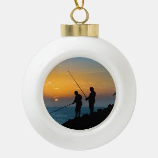 Two Men Fishing at Shore Ceramic Ball Christmas Ornament