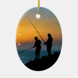 Two Men Fishing at Shore Ceramic Oval Ornament