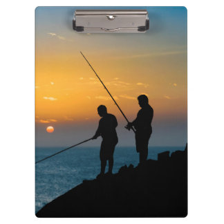 Two Men Fishing at Shore Clipboard