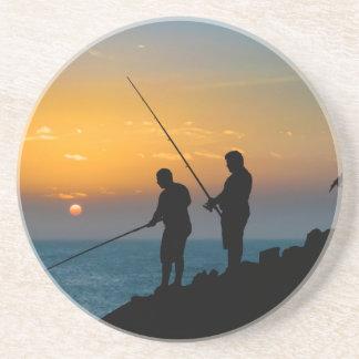 Two Men Fishing at Shore Coaster