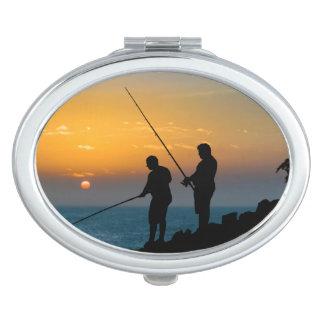 Two Men Fishing at Shore Compact Mirror