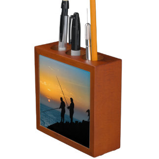 Two Men Fishing at Shore Desk Organizer