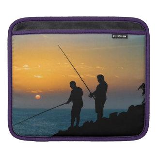 Two Men Fishing at Shore iPad Sleeves