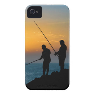 Two Men Fishing at Shore iPhone 4 Case-Mate Case