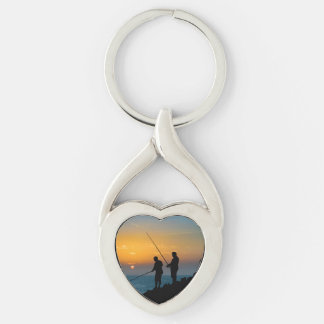 Two Men Fishing at Shore Keychain