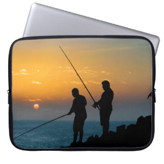 Two Men Fishing at Shore Laptop Sleeve