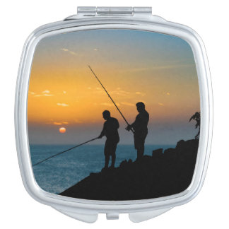 Two Men Fishing at Shore Makeup Mirror
