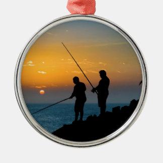 Two Men Fishing at Shore Metal Ornament