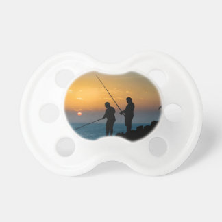 Two Men Fishing at Shore Pacifier