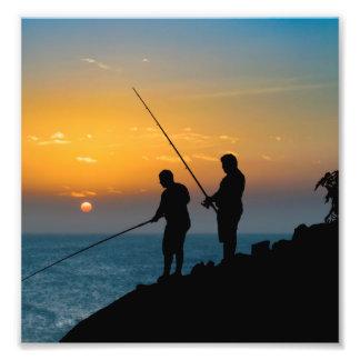 Two Men Fishing at Shore Photo Print