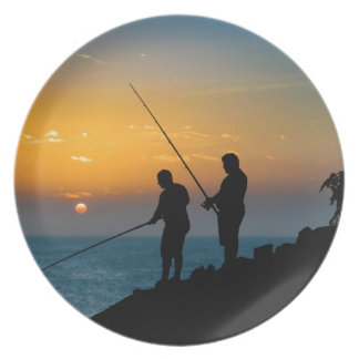 Two Men Fishing at Shore Plate