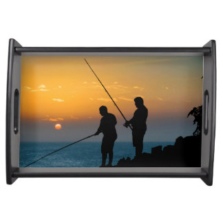 Two Men Fishing at Shore Serving Tray