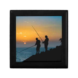 Two Men Fishing at Shore Trinket Box