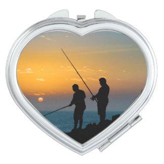 Two Men Fishing at Shore Vanity Mirrors