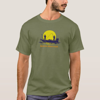 Two men fishing in a boat against a yellow sunset, T-Shirt