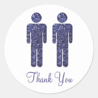 Two Men Glitter Round Sticker