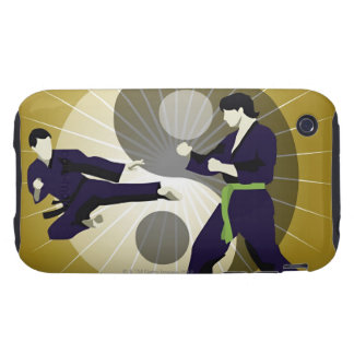 Two men performing martial arts in front of a tough iPhone 3 covers
