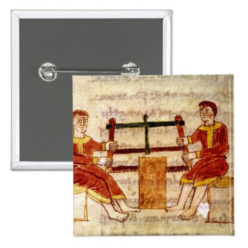 Two Men Sawing Wood, from 'De Universo' Pins