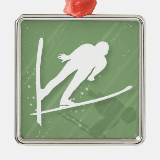 Two Men Ski Jumping Metal Ornament