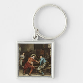 Two Men Talking in a Tavern Silver-Colored Square Keychain