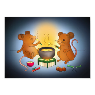 Two mice eating cheese fondue card