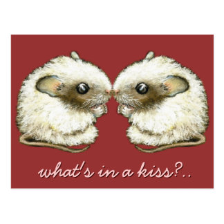 two mice kissing post card