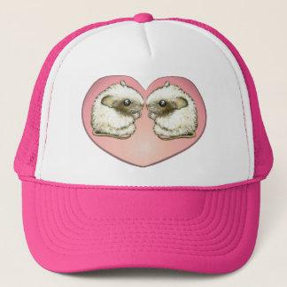 Two mice kissing trucker hat