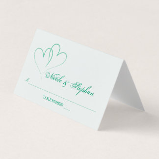 Two Mint Hearts Intertwined Place Card