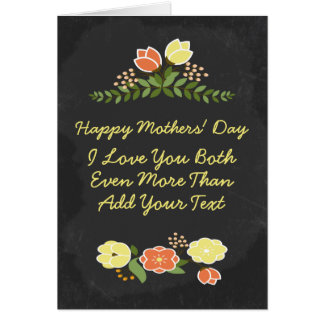 Two Moms I Love You Personalized Flower Chalkboard Greeting Card