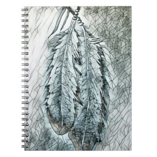Two Mosaic Eagle Feathers Spiral Notebook