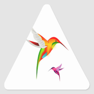 Two Multicolored Humming Birds in Flight Triangle Sticker