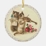 Two Musical Kittens Sing and Play Violin Round Ceramic Ornament