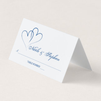 Two Nautical Blue Hearts Intertwined Place Card