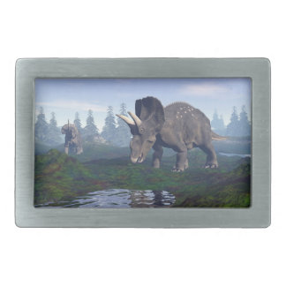 Two nedoceratops/diceratops dinosaurs walking belt buckle