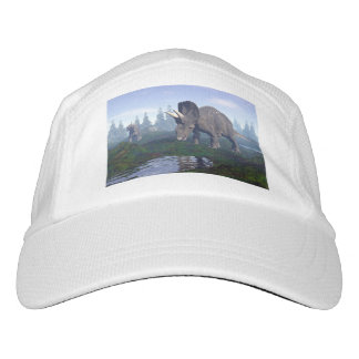 Two nedoceratops/diceratops dinosaurs walking headsweats hat