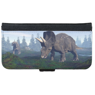 Two nedoceratops/diceratops dinosaurs walking iPhone 6 wallet case