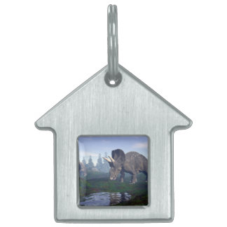 Two nedoceratops/diceratops dinosaurs walking pet ID tag