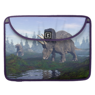 Two nedoceratops/diceratops dinosaurs walking sleeve for MacBooks
