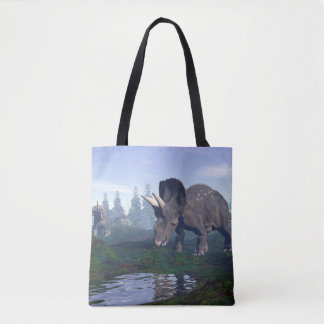 Two nedoceratops/diceratops dinosaurs walking tote bag