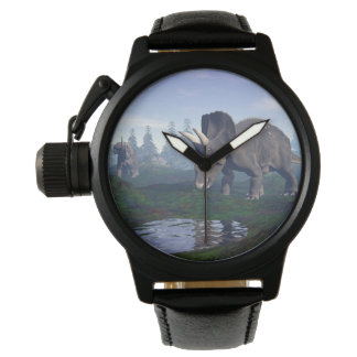 Two nedoceratops/diceratops dinosaurs walking wrist watches