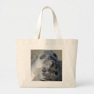 Two Northern Elephant Seals Large Tote Bag